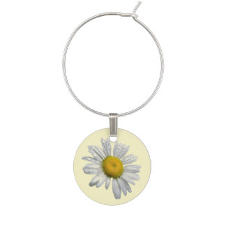 White Daisy Flower Floral Wine Charm