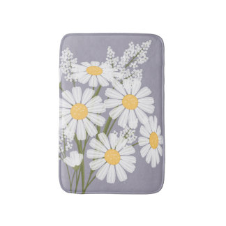 White Daisy Flowers Bouquet on Lavender Bath Mat
