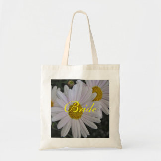 White daisy flowers bride budget tote bag