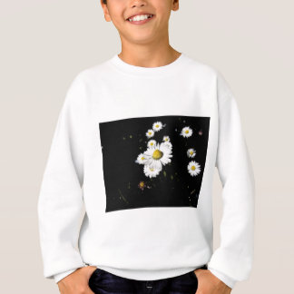 White daisy flowers on dark background sweatshirt