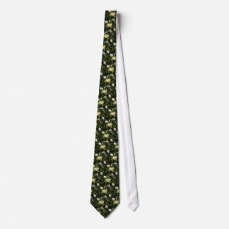 White daisy flowers on green background tie