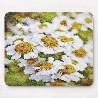 White Daisy Flowers - Painting Art Mousepad