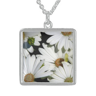 White Daisy Flowers Sterling Silver Necklace
