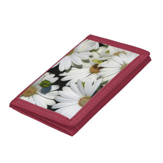 White Daisy Flowers Trifold Wallet