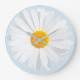 white daisy large clock
