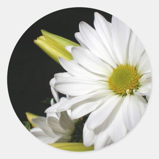 White Daisy Lily Vertical Round Sticker