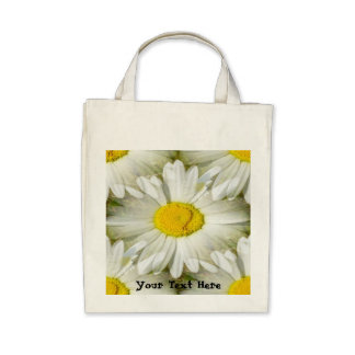 White Daisy Mirror image Organic Grocery Tote Bag