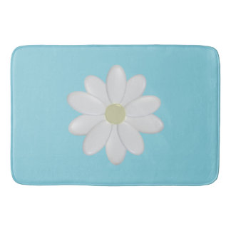 White Daisy Modern Aqua Large Bath Mat Bath Mats