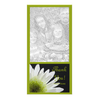 White Daisy on Black Thank You Photo Cards