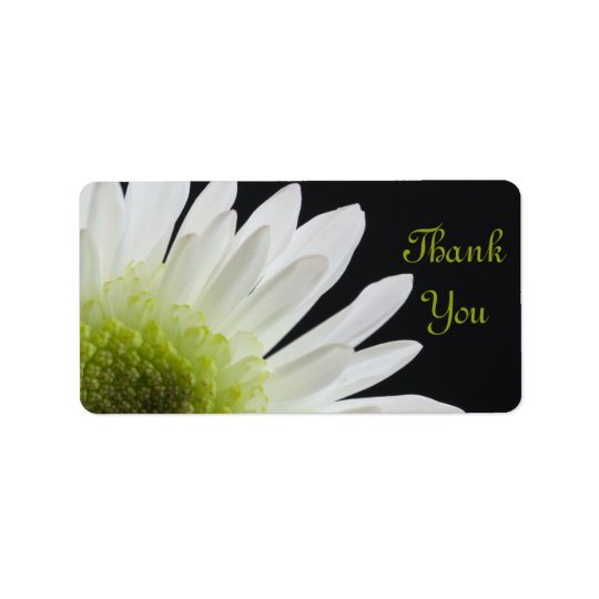 White Daisy on Black Wedding Thank You Favour Tags