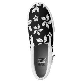 White Daisy on-Black Zipz Slip On-Shoes  US-Women Printed Shoes