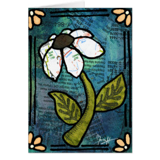 White Daisy on Blue Background - Collage Card