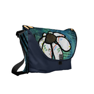 White Daisy on Blue Background - Collage Messenger Bag
