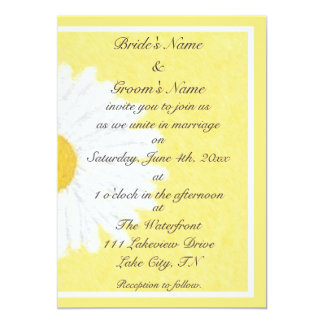 White Daisy on Yellow Wedding Invitation
