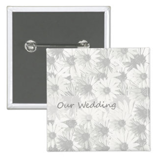 White Daisy- our wedding 15 Cm Square Badge