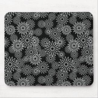 White Daisy Pattern on Black Background Mouse Pad
