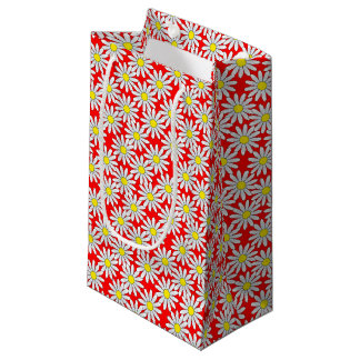 White Daisy Pattern on Red Small Gift Bag