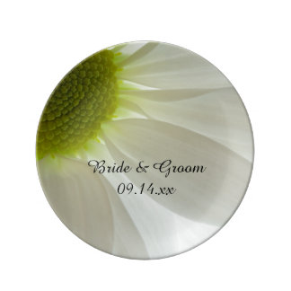 White Daisy Petals Wedding Keepsake Plate