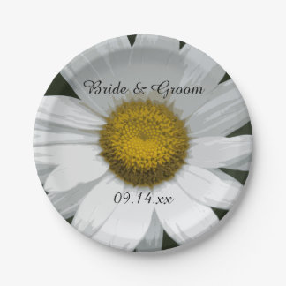 White Daisy Petals Wedding Paper Plate