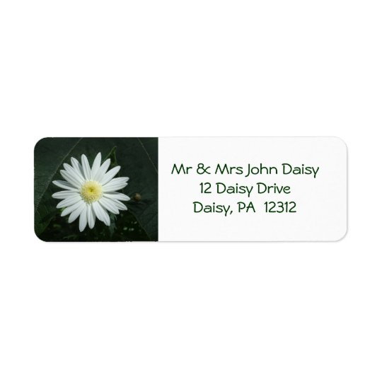 White Daisy Return Address Label