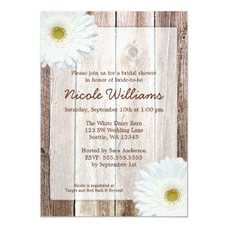 White Daisy Rustic Barn Wood Bridal Shower 13 Cm X 18 Cm Invitation Card