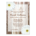 White Daisy Rustic Barn Wood Bridal Shower Personalised Invitations