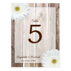White Daisy Rustic Barn Wood Wedding Table Number Postcard