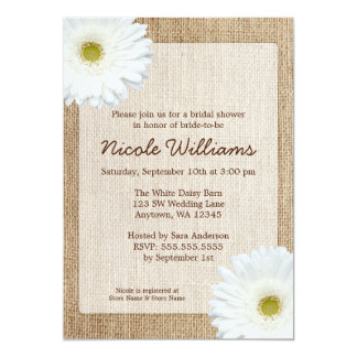 White Daisy Rustic Burlap Bridal Shower 13 Cm X 18 Cm Invitation Card
