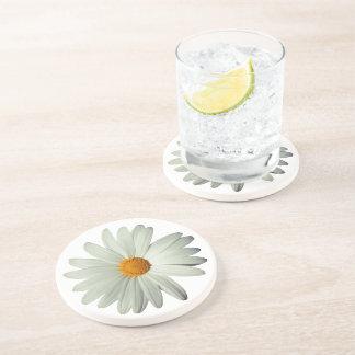 White Daisy Sandstone Drink Coaster
