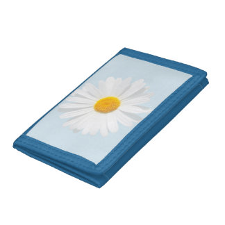 white daisy trifold wallets