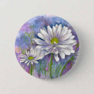 White Daisy Watercolor Flower Painting 6 Cm Round Badge