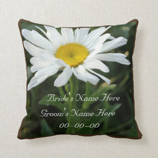 White daisy wedding personalized  with name cushion