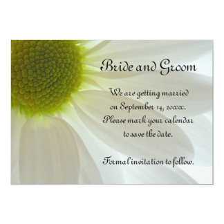 White Daisy Wedding Save the Date Announcement