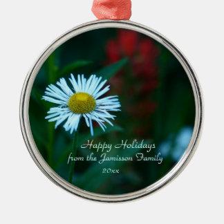 White Daisy Wildflower Christmas Ornament, Premium Silver-Colored Round Decoration
