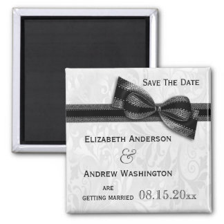 White Damask and Black Faux Bow Save The Date Square Magnet