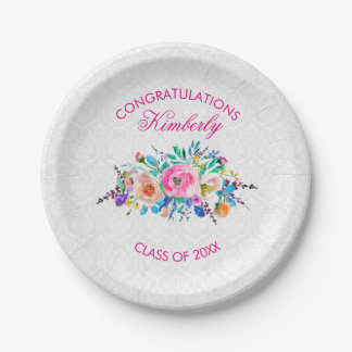 White Damask And Bouquet- Graduations Paper Plate