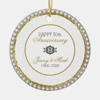 White Damask And Diamonds- 50th Anniversary Ceramic Ornament
