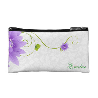 White Damask And Flowers Cosmetic Bags