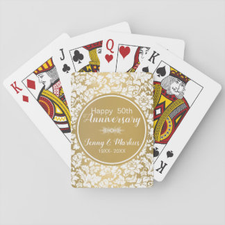 White Damask And Gold Circle- Anniversary Playing Cards