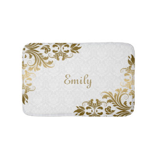 White Damask And Gold Swirls Bath Mat