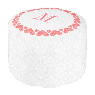 White Damask And Red Hearts Pouf