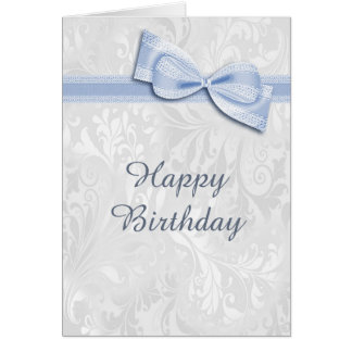 White Damask & Blue Faux Bow Female Birthday Card