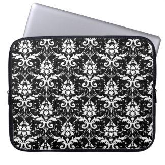 White Damask Customizable Background Color Laptop Sleeve