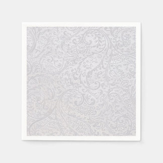 White Damask Disposable Serviettes