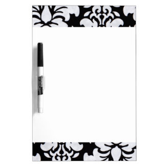 White Damask Dry Erase Board