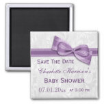 White Damask & Faux Bow Baby Shower Save The Date