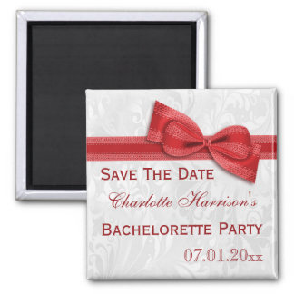 White Damask & Faux Bow Bachelorette Save The Date Square Magnet