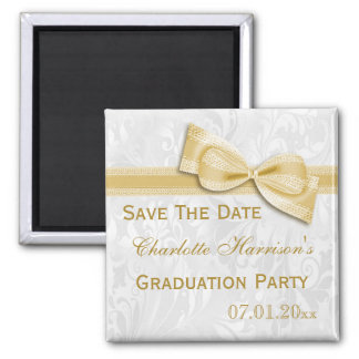 White Damask Faux Bow Graduation Save The Date Magnet