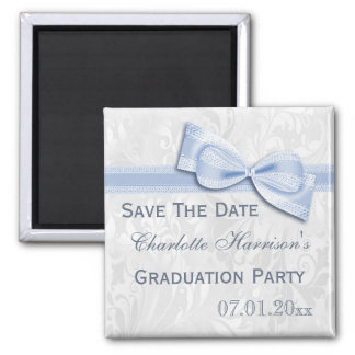 White Damask & Faux Bow Graduation Save The Date Square Magnet