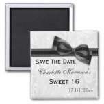 White Damask & Faux Bow Sweet 16 Save The Date Square Magnet